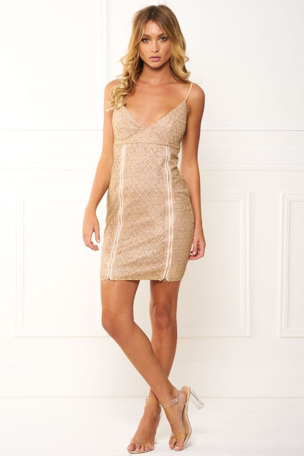 Honey Couture PAIGE Gold Lattice Mini Dress Zip Slit Honey Couture$ AfterPay Humm ZipPay LayBuy Sezzle