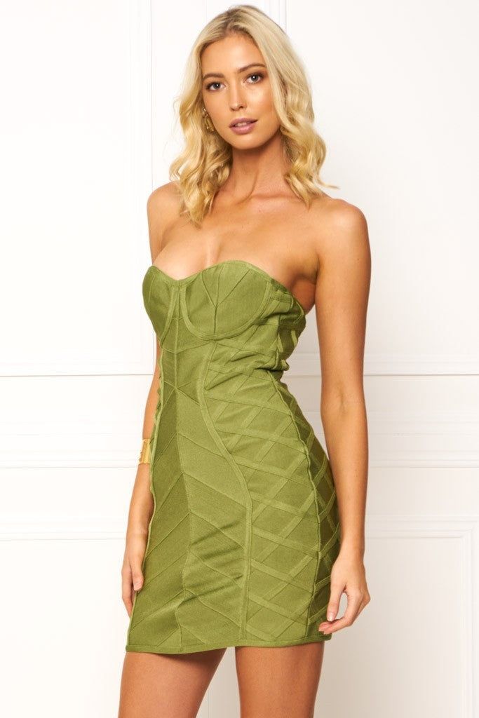 Honey Couture EMERIE Green Strapless Midi Length Bandage Dress Australian Online Store One Honey Boutique AfterPay ZipPay