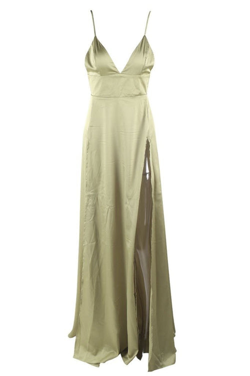 Honey Couture TANYA Green Satin Style Formal Gown Dress