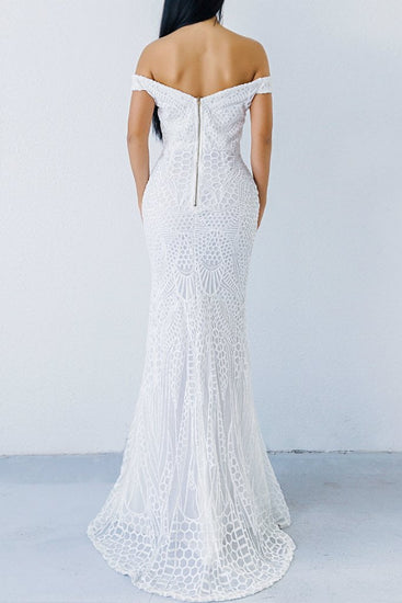 Honey Couture HAILEY White Sheer Sequin Off Shoulder Evening Gown DressHoney CoutureOne Honey Boutique AfterPay OxiPay ZipPay