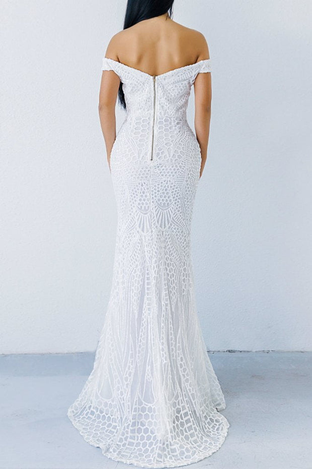Honey Couture HAILEY White Sheer Sequin Off Shoulder Evening Gown Dress Honey Couture$ AfterPay Humm ZipPay LayBuy Sezzle