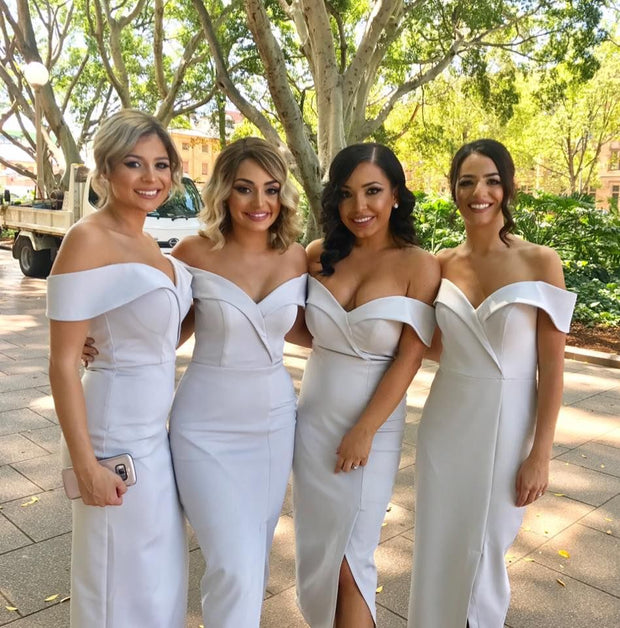 Tina Holly Couture Connelly R1767 Heather Grey Off Shoulder Bridesmaids Midi Dress {vendor} AfterPay Humm ZipPay LayBuy Sezzle