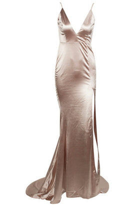 Honey Couture MILEE Nude Gold Split Low Back Mermaid Evening Gown Dress