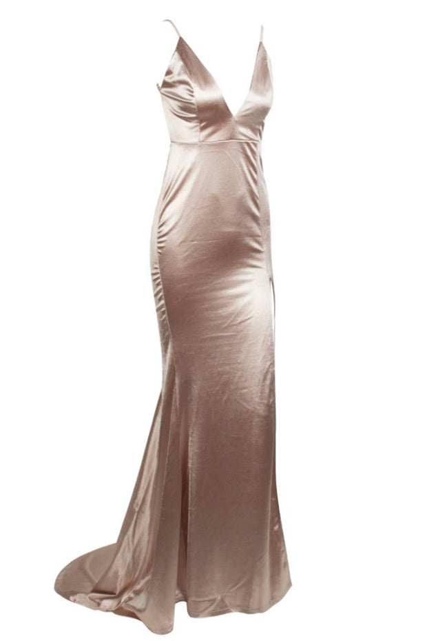Honey Couture MILEE Nude Gold Split Low Back Mermaid Evening Gown Dress Honey Couture$ AfterPay Humm ZipPay LayBuy Sezzle