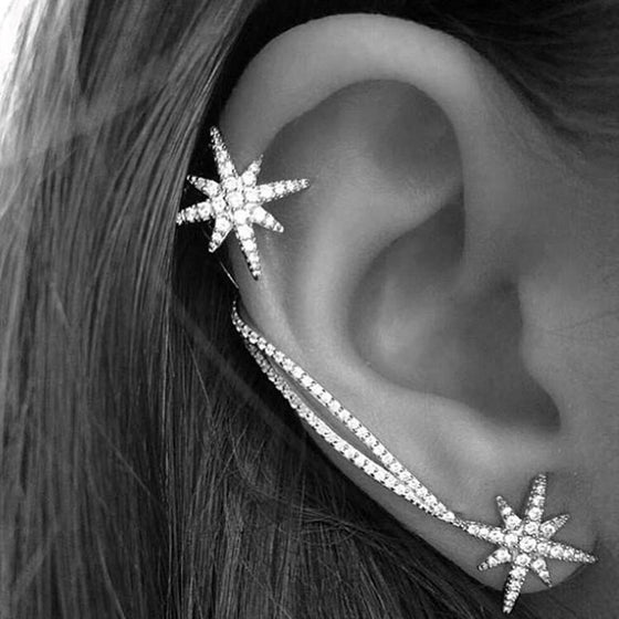 Honey Couture MISTY Silver Diamante Ear Cuff Earrings Honey Couture One Honey Boutique AfterPay ZipPay OxiPay Laybuy Sezzle Free Shipping
