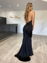 Honey Couture JODIE Black Halter Satin Mermaid Evening Gown Dress