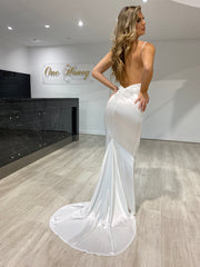 Honey Couture MILEE White Low Back Mermaid Evening Gown Dress