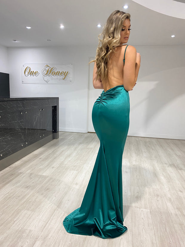 Honey Couture MILEE Emerald Green Split Low Back Mermaid Evening Gown Dress