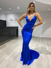 Honey Couture MILEE Blue Low Back Mermaid Evening Gown Dress