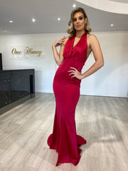 Honey Couture JODIE Red Halter Satin Mermaid Evening Gown Dress