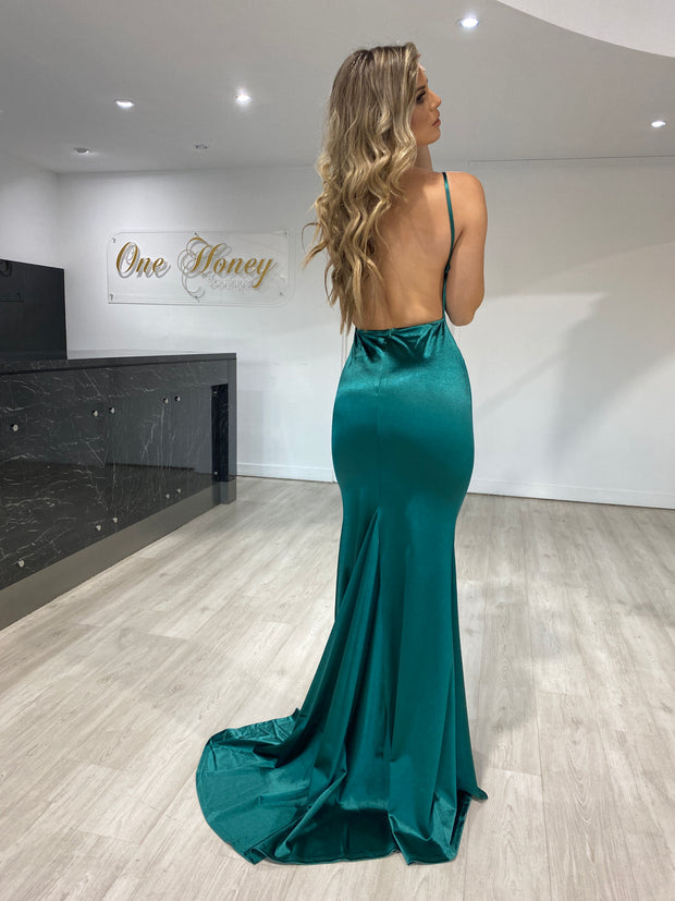 Honey Couture RILEY Emerald Green Low Back Mermaid Evening Gown Dress