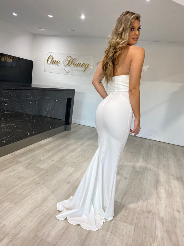 Honey Couture NARDIA White Feather Strapless Mermaid Evening Gown Dress