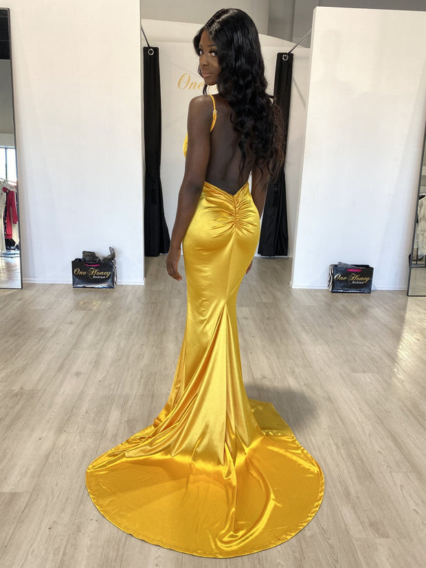 Honey Couture MILEE Yellow Low Back Mermaid Evening Gown Dress