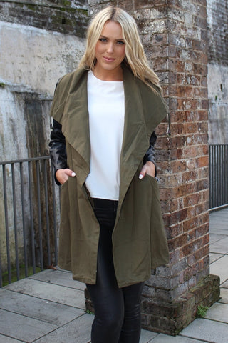 Jacket - Sydney Babe Khaki W Black Sleeves Winter Jacket