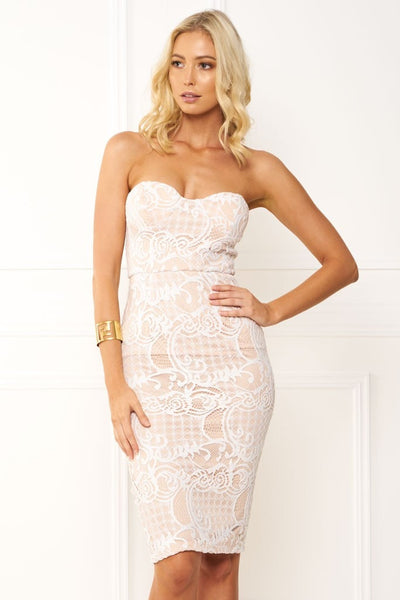 Honey Couture LACEY Nude & White Strapless Lace Midi Dress