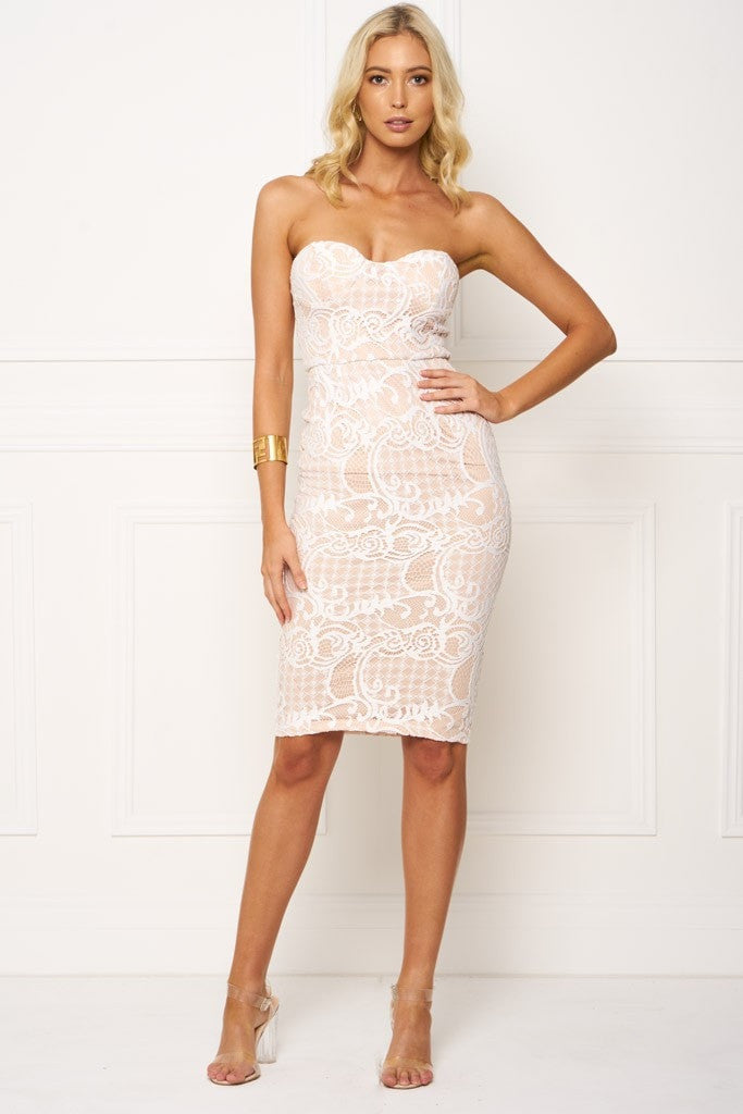 Honey Couture LACEY Nude & White Strapless Lace Midi Dress Australian Online Store One Honey Boutique AfterPay ZipPay