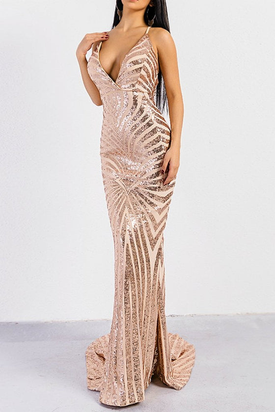 Honey Couture LILLEY Gold Sequin Low Back Mermaid Evening Gown Dress Honey Couture One Honey Boutique AfterPay ZipPay OxiPay Laybuy Sezzle Free Shipping