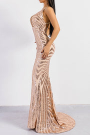 Honey Couture LILLEY Gold Sequin Low Back Mermaid Evening Gown Dress Honey Couture$ AfterPay Humm ZipPay LayBuy Sezzle