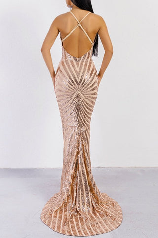 Honey Couture LILLEY Gold Sequin Low Back Mermaid Evening Gown Dress Honey Couture One Honey Boutique AfterPay ZipPay OxiPay Sezzle Free Shipping