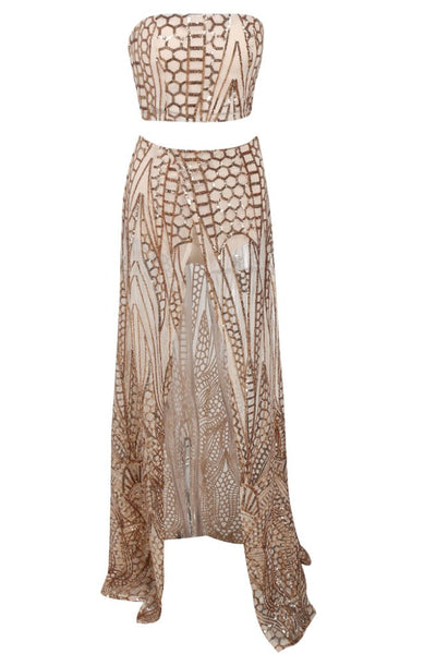 Honey Couture MIKA Gold Sequin Crop & Maxi Skirt Set Australian Online Store One Honey Boutique AfterPay ZipPay