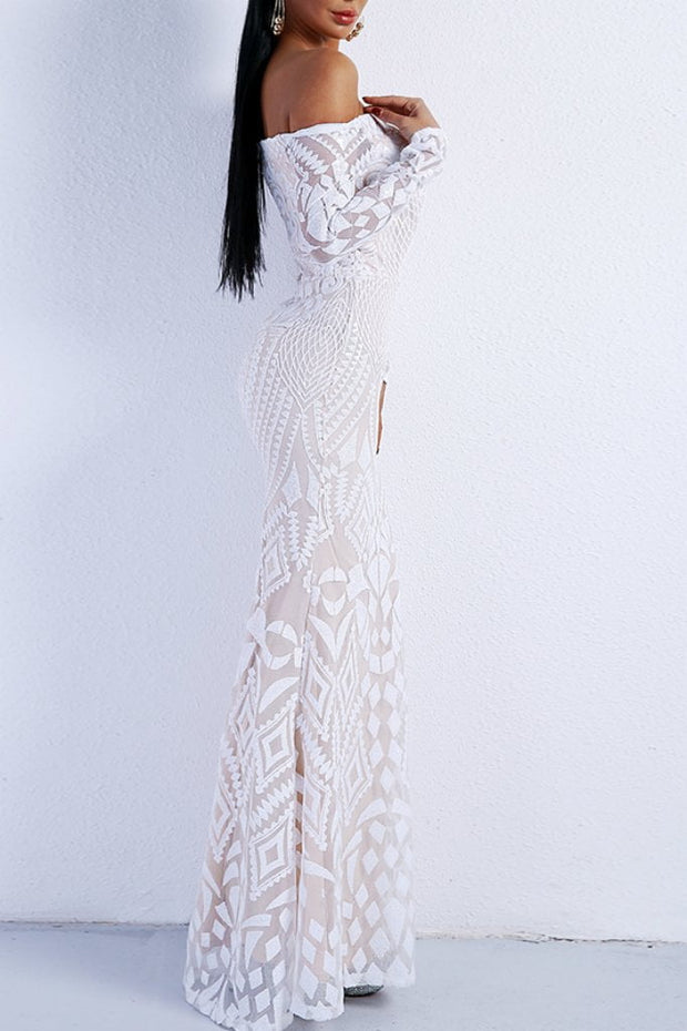Honey Couture MISHKA White Sequin Formal Gown Dress Honey Couture$ AfterPay Humm ZipPay LayBuy Sezzle