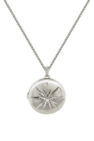 Necklace - Belle Noel By Kim Kardashian Star Deco Locket Necklace Silver