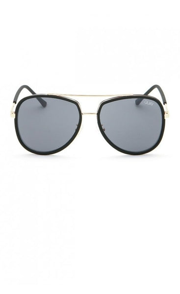 Quay Australia NEEDING FAME Black Smoke Aviator Designer Sunglasses