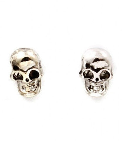 SMALL Silver Skull Head Earrings