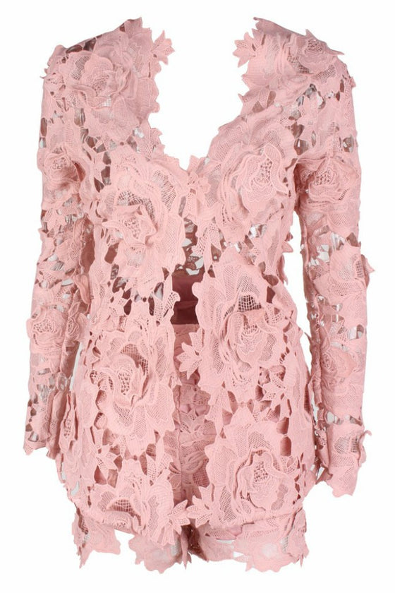 Honey Couture BEATRICE Pink Three Dimensional Long Sleeve Lace Playsuit Set Honey Couture One Honey Boutique AfterPay ZipPay OxiPay Laybuy Sezzle Free Shipping