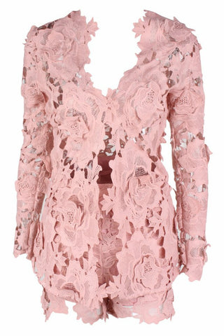 Honey Couture BEATRICE Pink Three Dimensional Long Sleeve Lace Playsuit Set Honey Couture One Honey Boutique AfterPay ZipPay OxiPay Sezzle Free Shipping