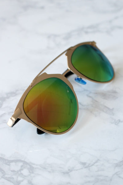 Rose Gold w Green Lense Inspired Sunglasses Australian Online Store One Honey Boutique AfterPay ZipPay