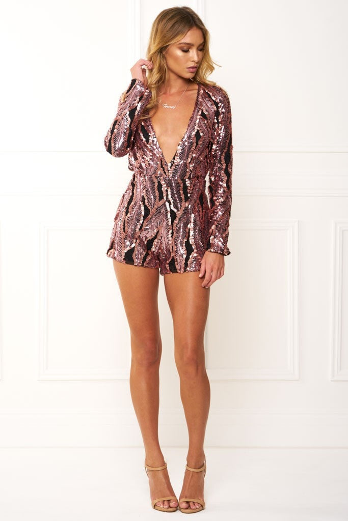 Honey Couture ROXANNE Pink Long Sleeve Sequin Playsuit