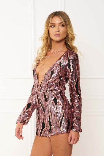 Honey Couture ROXANNE Pink Long Sleeve Sequin Playsuit Australian Online Store One Honey Boutique AfterPay ZipPay