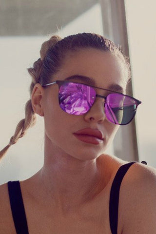Quay Australia PRIVATE EYES Black Purple Mirror Designer Sunglasses QUAY Australia One Honey Boutique AfterPay ZipPay OxiPay Sezzle Free Shipping