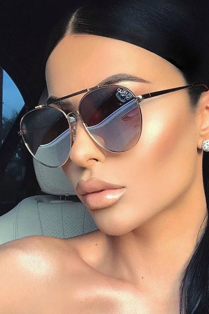 Quay Australia LICKETY SPLIT Gold Brown Designer Sunglasses Australian Online Store One Honey Boutique AfterPay ZipPay