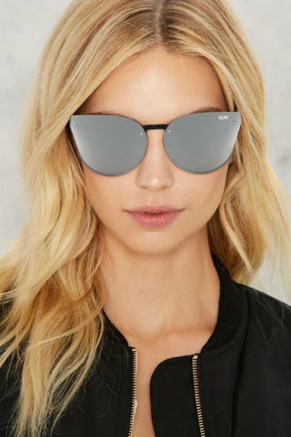 Quay Australia HIGHER LOVE Black & Silver Designer Sunglasses QUAY Australia One Honey Boutique AfterPay ZipPay OxiPay Sezzle Free Shipping