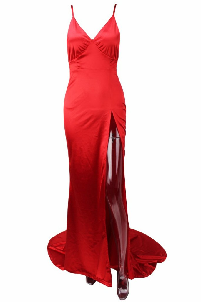 ac78e563d1 Honey Couture BIANCA Red Satin Style Mermaid Evening Gown Dress Australian  Online Store One Honey Boutique