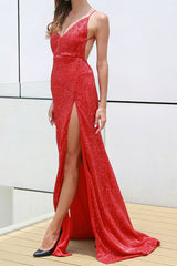 Honey Couture TANYA Red Sequin Split Formal Gown Dress