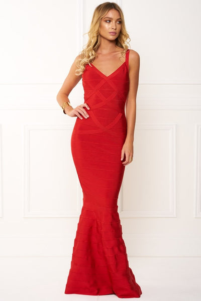 Honey Couture MERMAID Red Strap Bandage Maxi Dress