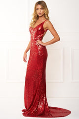 Honey Couture ELIZABETH Red Low Back Sequin Formal Gown Dress Australian Online Store One Honey Boutique AfterPay ZipPay