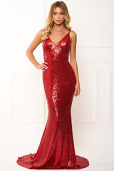 Honey Couture ELIZABETH Red Low Back Sequin Formal Gown Dress