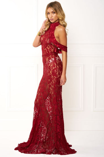Honey Couture ARIA Red Sleeveless Halter Lace Stitching Formal Gown DressHoney CoutureOne Honey Boutique AfterPay OxiPay ZipPay