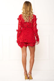 Honey Couture BEATRICE Red Three Dimensional Long Sleeve Lace Playsuit Set Honey Couture$ AfterPay Humm ZipPay LayBuy Sezzle