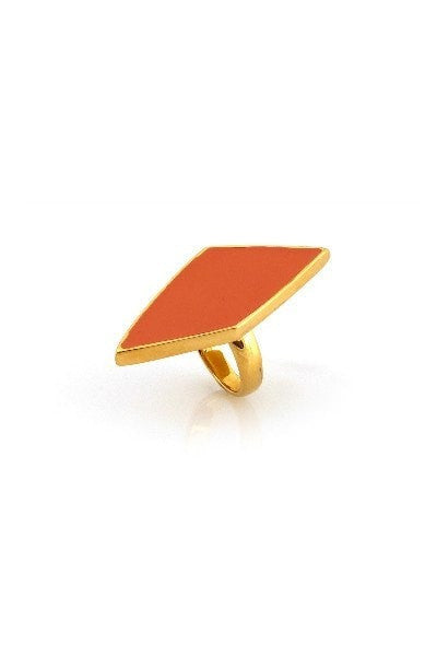 Belle Noel By Kim Kardashian Diamond Shaped Ring In Tangerine