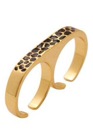 Kardashian Kollection Gold Double Finger Ring w Black Crystals