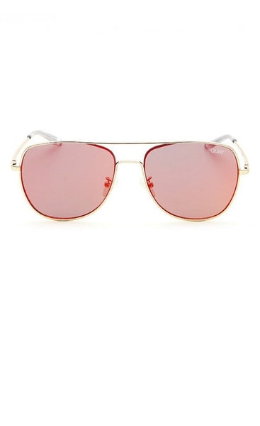 Quay Australia RUNNING RIOT Gold & Red Mirror Designer Sunglasses