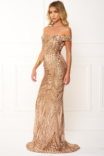Honey Couture HAILEY Rose Gold Sheer Sequin Off Shoulder Evening Gown Dress Australian Online Store One Honey Boutique AfterPay ZipPay