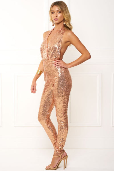 Honey Couture MAE Rose Gold Halter Jumpsuit