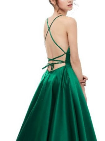 SHERRI Emerald Green Lace Up Back Satin Formal Gown Private Label$ AfterPay Humm ZipPay LayBuy Sezzle