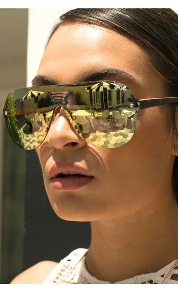 Quay Australia SHOWTIME Gold Mirror Designer Sunglasses Australian Online Store One Honey Boutique AfterPay ZipPay
